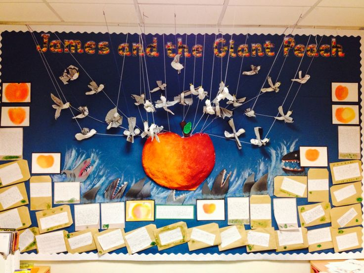 Display for James and the Giant Peach topic with y3/4 class. 3d peach and seagulls with pastel chalk sharks and magic potion writing. So proud of all their work.