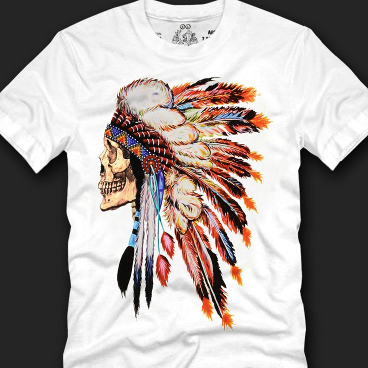 Brand new Skull Indian Chief Graphic T-shirts for men. Shop a high-quality skull indian printed tees are sales on affordable price. Crew neck line and short sleeved tees are made of 100% cotton, 2013 Korean summer trends T-shirts sales on Freeshipping.