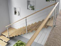 Escalier quart tournant bas en bois - Avec pallier et rampe en chêne brut.