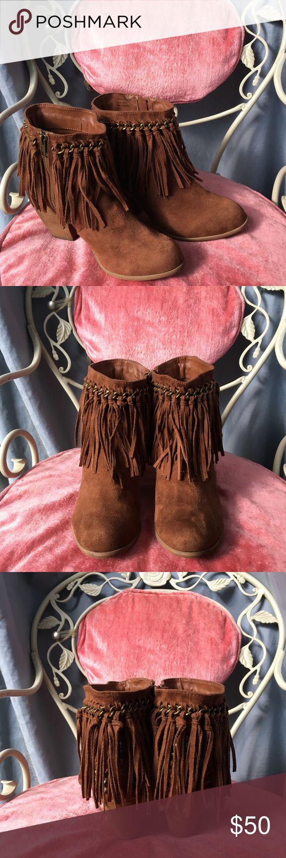 🐴 NOT RATED FRINGE BOOTS BRAND NEW, NEVER WORN Not Rated boots. These are perfect for a night out or casual days. Has chain detailing that has fringe attached and peekaboo studs in the back. Super cute for fall and winter season! Not Rated Shoes Ankle Boots & Booties