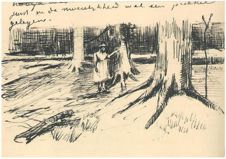 A Girl in a Wood Vincent van Gogh Letter Sketches,  The Hague: 9-Sep, 1882 Van Gogh Museum Amsterdam, The Netherlands, Europe F: ;229, ;JH: ;183