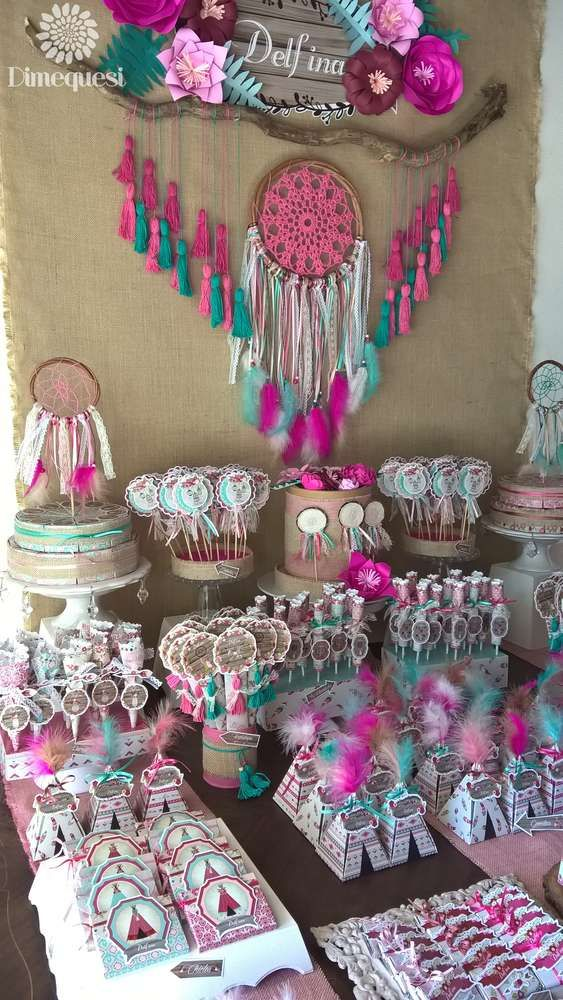 You don't want to miss Boho Chic Quinceñera. The dessert table is fabulous! See more party ideas and share yours at CatchMyParty.com