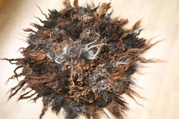 Hand felted round rug with different wool locks by ChameleonWool, $210.00