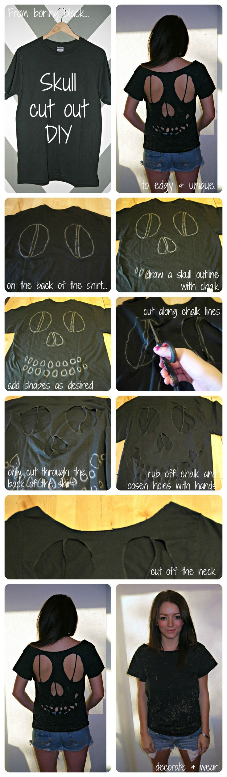 Cute for the junior high kids to wear on Halloween when they are too old to dress up at school!! Skull T-shirt #DIY for #Halloween! @Jill Meyers Meyers Meyers kropp