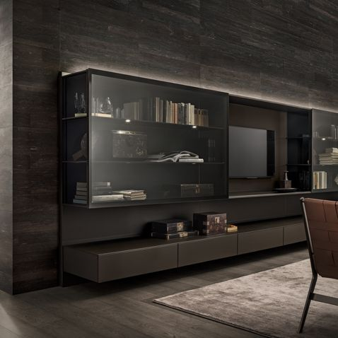 composition with moro lacquered aluminium structure and moro mat lacquered glass.  Transparent gray glass showcase