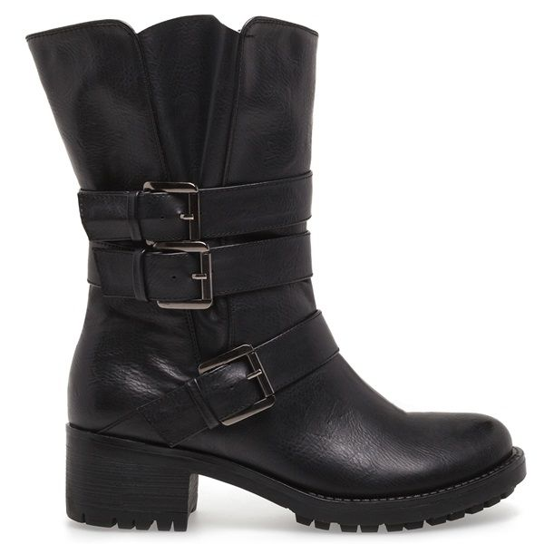 Black biker boot with cleated sole and three buckles.
