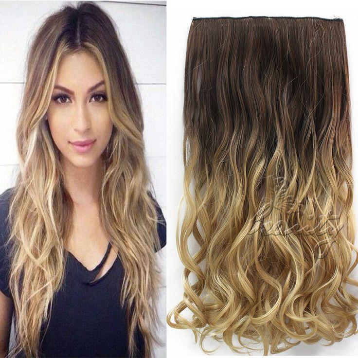 "24 ""60 cm Golvend Krullend Uitbreiding 5 Clip De Cheveux Ombre Stuk Haar Extensions Cosplay Stijl Chocolade Bruin om Sandy Blonde B40"