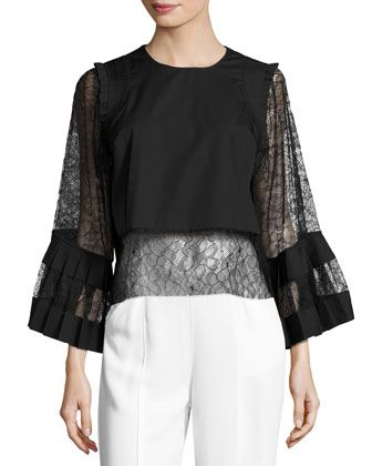 Cropped+Lace-Sleeve+Blouse,+Black+by+Adam+Lippes+at+Bergdorf+Goodman.