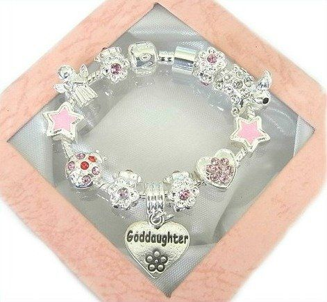 Treasured Charms & Beads Sparkling Pink & Silver Goddaughter Charm Bracelet 18cm by Treasured Charms & Beads, http://www.amazon.co.uk/dp/B00BN7BG34/ref=cm_sw_r_pi_dp_v7Aisb0H04X8E/279-1239625-1740413