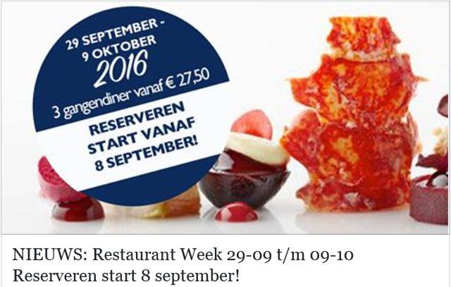 SAVE THE DATE: Restaurant Week van 29 september t/m 9 oktober. Reserveren start 8 september, maar VIP members kunnen 2 dagen eerder reserveren. Ook een VIP worden? Schrijf je in via www.diningcity.nl/newsletter-social