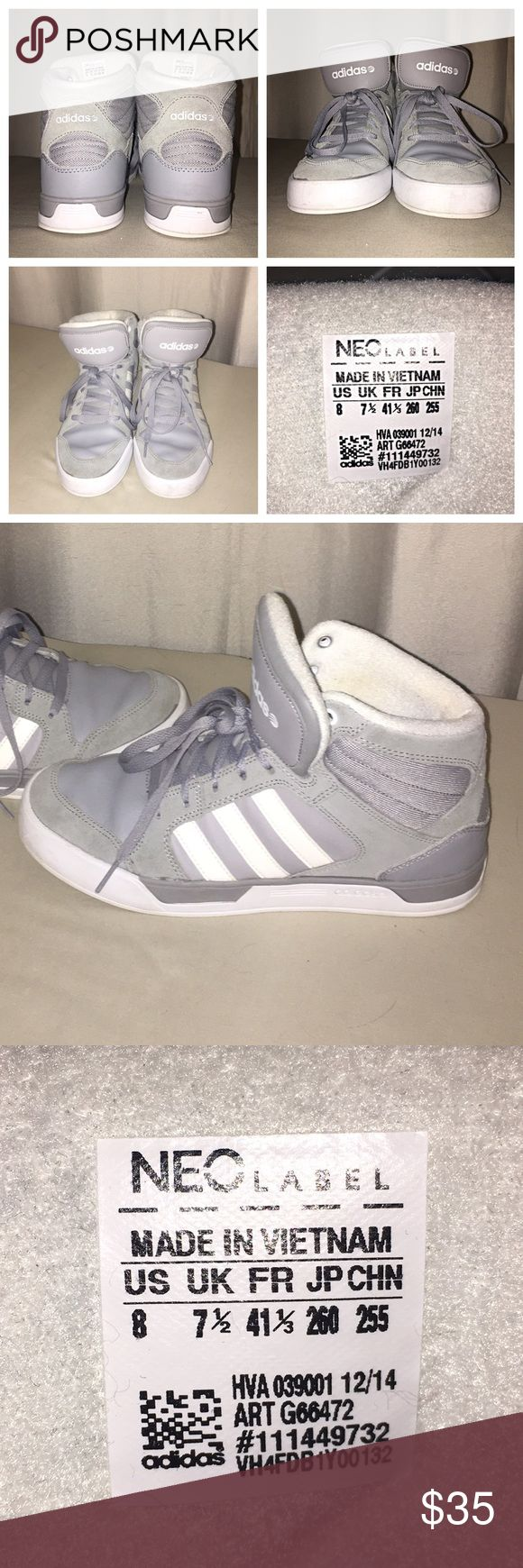Adidas Neo Grey Suede Hightops Worn about 1/2 dozen times, uppers and insole in near perfect condition.  Sole has a few markings and the bottoms are a bit dirty but not worn.  Fits men's 8 women's 9. (I am an 8.5 and have decided to find a pair that fits a little better.) Adidas Shoes Sneakers