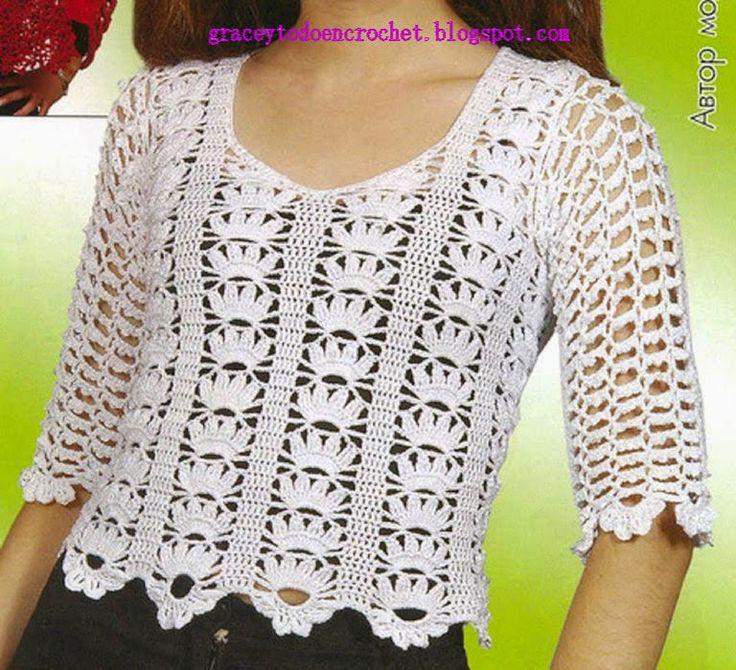 Grace y todo en Crochet: Beautiful top in white...Precioso top en blanco.