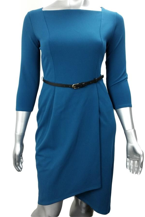 Teal blue wrap work dress with belt