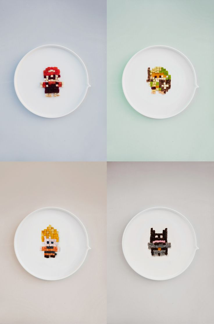 Graphic Salad recipe : Mario (tomatoes & mozzarella), DBZ (  mango, papaya, marshmallow), Batman(chocolate cake) & Zelda (avocado, mushrooms, yellow pepper)
