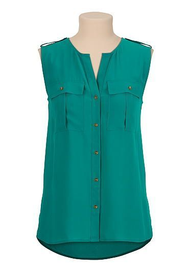 high-low sleeveless button front blouse (original price, $29) available at #Maurices