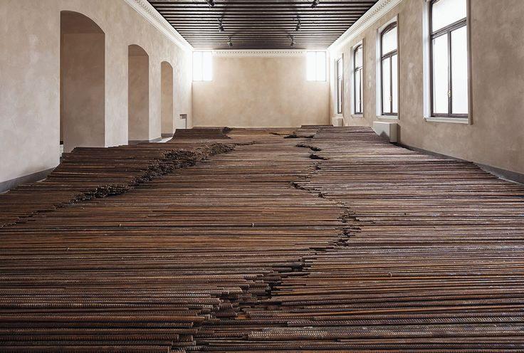 Ai Weiwei, Straight, 2008-2012 – Steel reinforcing bars 6x12m installation view, Disposition, Zuecca Project Space/Complesso delle Zitelle, Giudecca, Venice 2013.