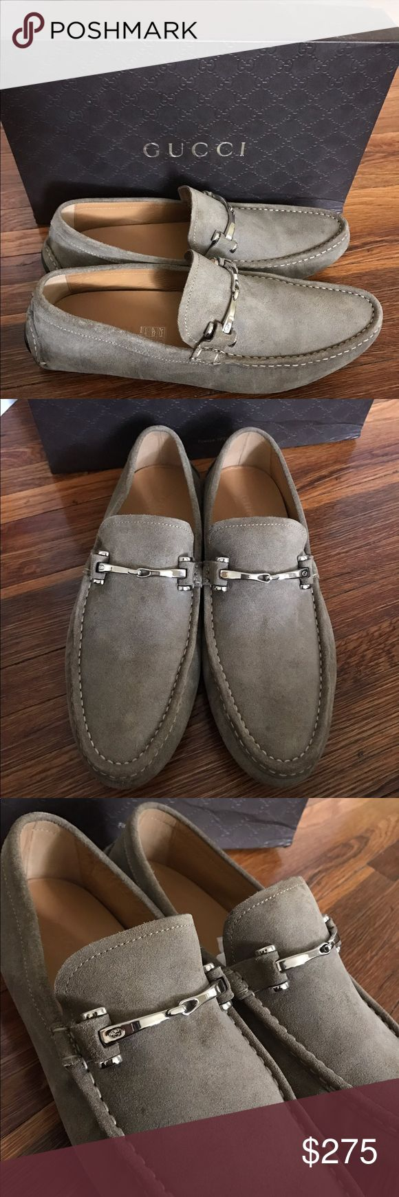 Men's Gucci Suede Loafers Like new Gucci loafers for men. Taupe colored with silver hardware. Worn only once!  Size 9, they run about a half size too big. No trades. Open to offers. Gucci Shoes Loafers & Slip-Ons