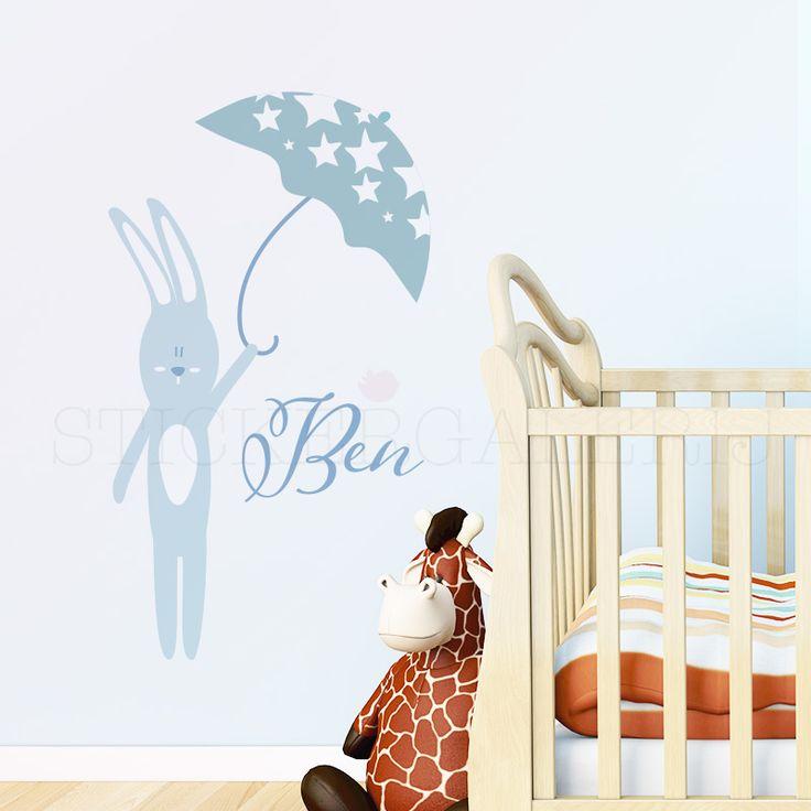 Muursticker babykamer met konijn met paraplu #babykamer #wanddecoratie #inspiratie #kinderkamer #muursticker #wolkjes #baby #roze #blauw #groen #peuter #kwaliteit #design #uniek #nederland #zwanger #zwangerschap #pasgeboren #interieur #muur #wand #doehetzelf #diy #liefde #stickergalerij  Voor de volledige collectie kijk op: www.stickergalerij.nl