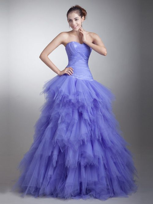 Strapless Crisscrossed Tulle Quinceanera Dress with Ruffled Skirt  #ShopSimple