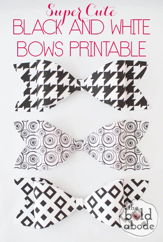 Print and make your own Super Cute Black and White Bows with this FREE PRINTABLE!  Easy to make and, well.. SUPER CUTE!