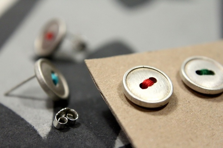 Button up, sterling silver posts. $35.00, via Etsy.