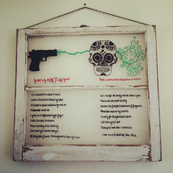 This piece is done in oil paint on a vintage window frame. The poetry on the bottom half was written by poet James Rauff specifically to correspond with the design above. This piece was thoughtfully created to represent the kinetic energy formula and the art of an exit wound. A beautiful and smart piece of art.
