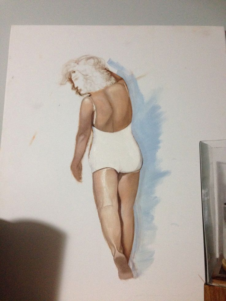 The Body: water mixable oil on canvas study of Marilyn Monroe on the beach
