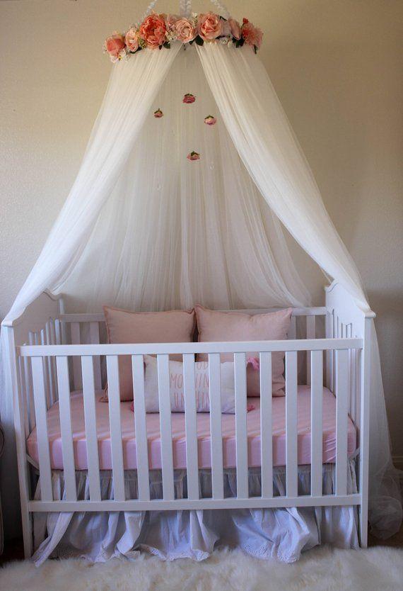 Ella Blue Canopy Floral Crib Canopy Bed Crown Nursery Etsy Crib Canopy Cribs Girl Nursery Room