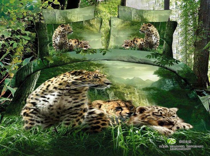 Wholesale 3D Green leopard animal print bedding comforter sets set queen size duvet cover sheets bedspread bed in a bag sheet quilt linen 100% cotton, Free shipping, $110.72/Set | DHgate Mobile