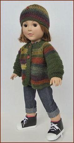 Mini Mochi Crochet 18' Doll Sweater Hat, free doll pattern, Crystal Palace Yarns.