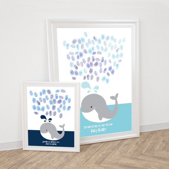 Whale fingerprint guestbook – printable file for baby shower or childs birthday thumbprint tree alternative ocean sea animal nursery art diy