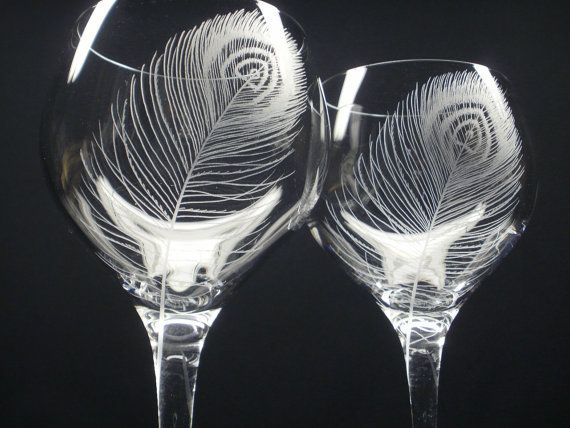 2 red wine glasses hand engraved crystal glass - Etched Wine Glasses