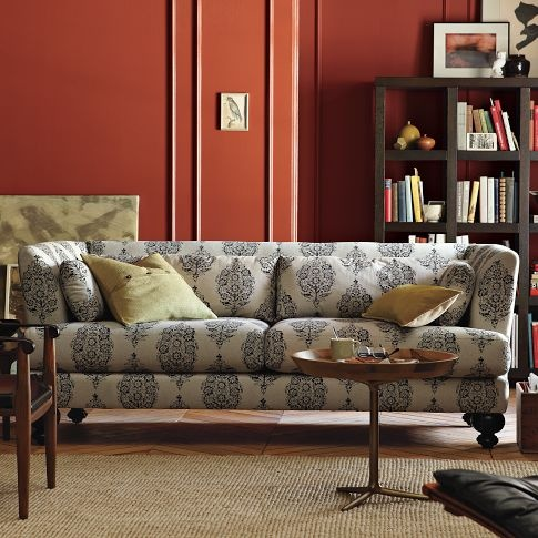 Room View: Wall Colors, Living Rooms, Red Wall, Burnt Orange, Essex Sofas, Comfy Couch, Colors Schemes, Red Rooms, West Elm