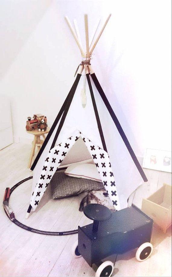SALE Tipi Kids Play Teepee Tent LittleNOMAD's teepee - white + black crosses / wigwam
