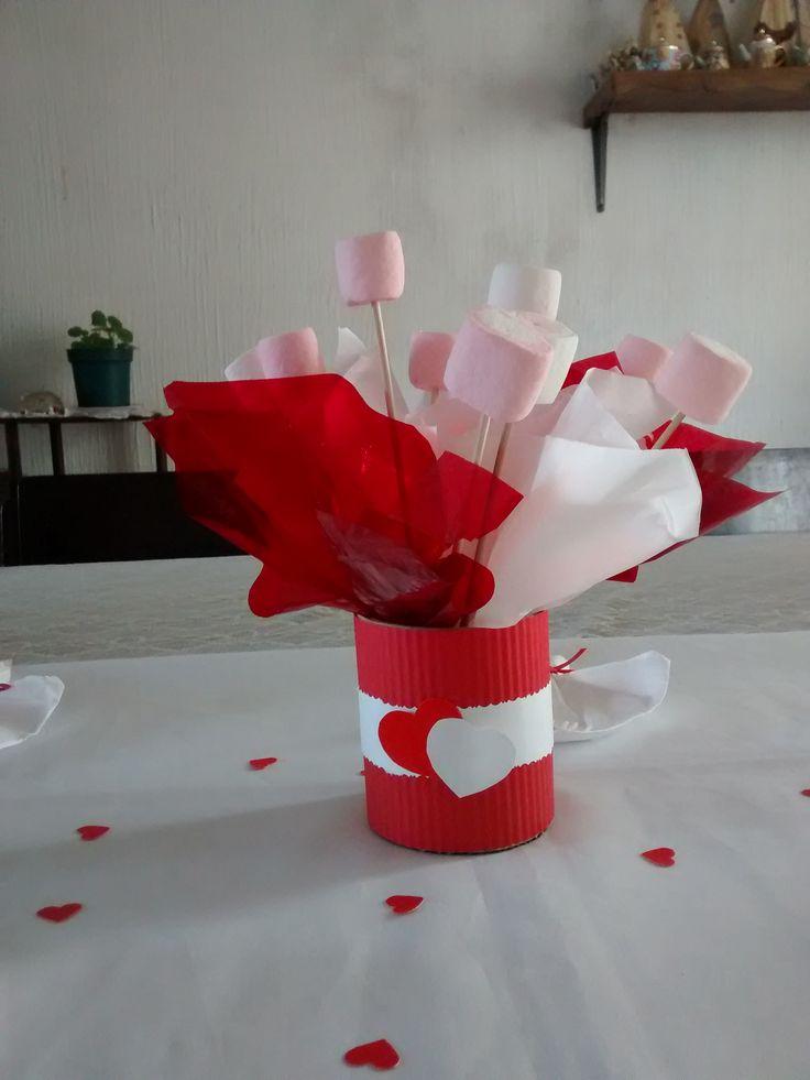 Centro de Mesa con golosinas para San Valentín