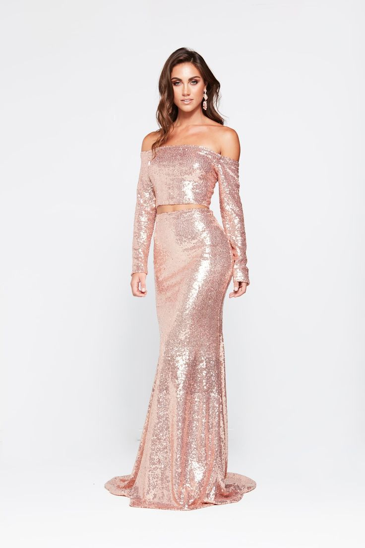 A&N Luxe Nadia Two Piece Sequin Gown Rose Gold in 2020
