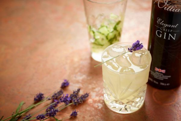 Lavender sugar, cucumber, and gin cocktail