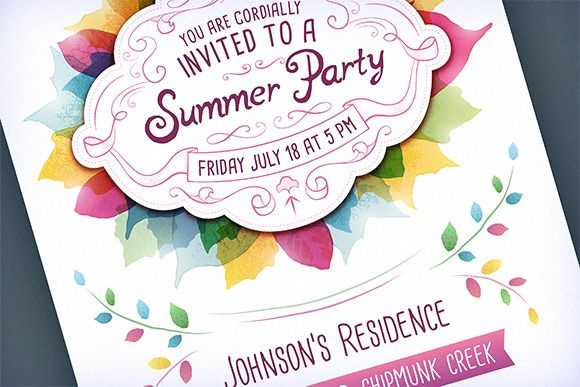 Summer Party Invitation by Swedish Points on @creativemarket