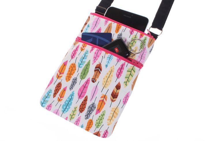 feathers crossbody bag, iPhone purse, phone bag, small handbag, travel crossbody bag, passport wallet sling bag, girlfriend gift for her