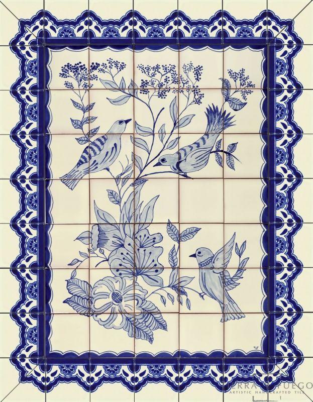Pajaros Azules Ceramic Tile Mural