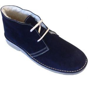desert boot navy blue fleece lining