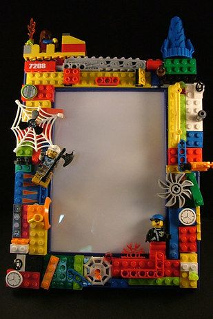 Lego photo frame. This is a really cool idea for a kid-made gift.