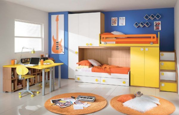 Double Deck Bed Design 03 with colorful decoration
