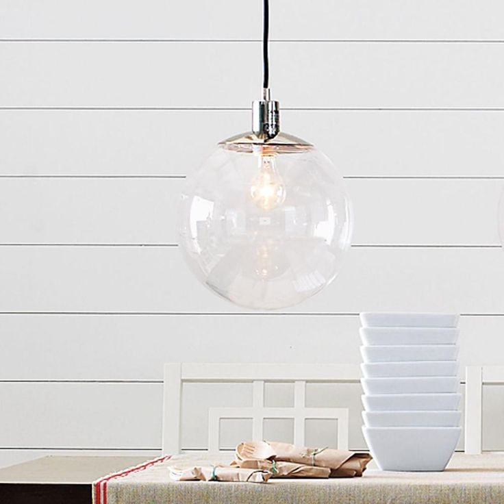 west elm clear globe pendant--top of stairs