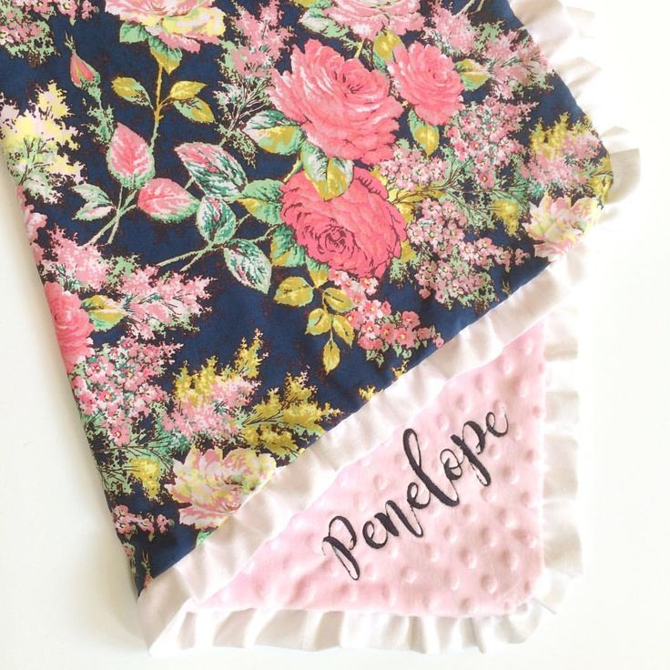 Handmade navy Floral baby girl ruffle blanket / cotton + minky / by Dot Dot Baby on Etsy. Navy pink nursery baby shower gift embroidered personalized girly