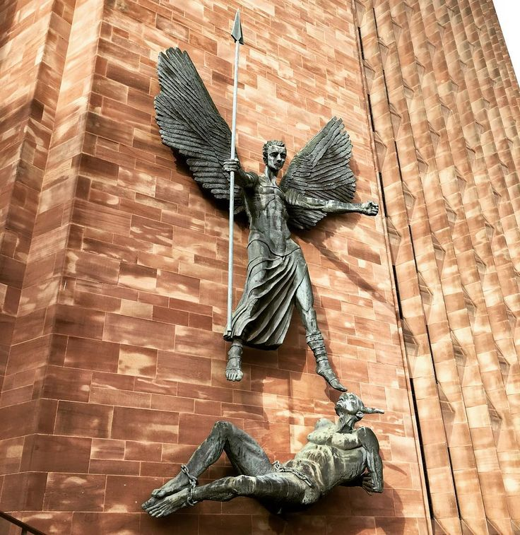 Stunning #statues on the #wall of #Coventry #Cathedral depicting St. Michael and the #devil. #art #statue #sculpture #history #culture #religion #Christianity #church #worship #faith #IgersCoventry #Warwickshire #England #travel #tourism #tourist #leisure #life