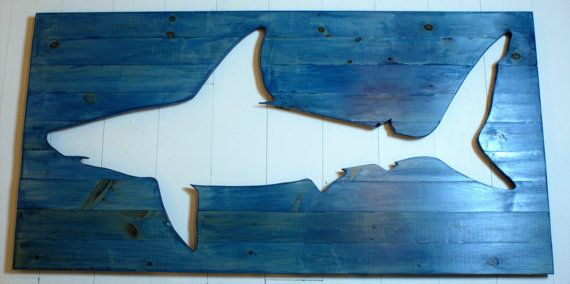 Shark Silhouette: Oversized Wood Wall Decor by BushwhackersTrading