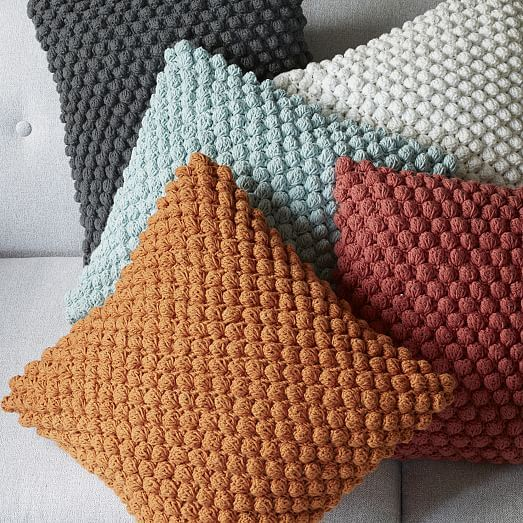 """Bubble Knit Crocheted Pillow Cover - Pale Harbor   West Elm   machine washable   yummy texture at its best   16"""" insert"""