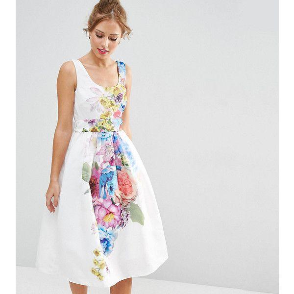 ASOS PETITE SALON Beautiful Floral Placed Midi Prom Dress (76 AUD) ❤ liked on Polyvore featuring dresses, multi, petite, white formal dresses, petite cocktail dress, white dress, prom dresses and floral midi dress