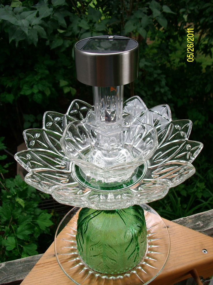 Recycled Glass For Gardens | Upcycled Recycled Glass Plate Garden Solar by CarlaRaeVintage